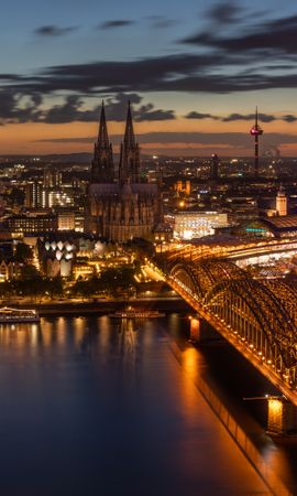 133245 Screensavers and Wallpapers Architecture for phone. Download Night City, Bridge, Koln, Cologne, City Lights, Architecture, Cities pictures for free