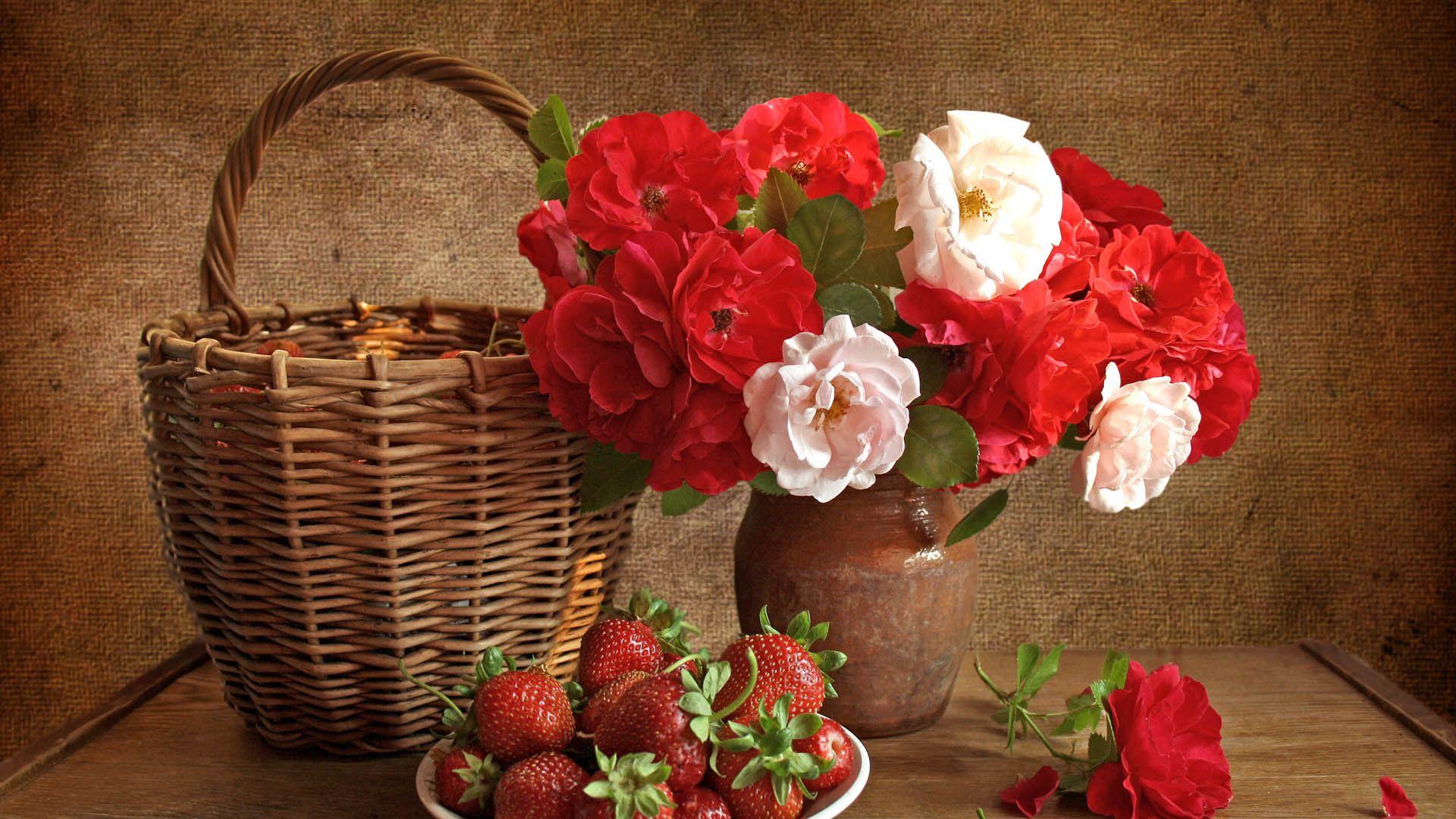 66854 завантажити шпалери Їжа, Квіти, Полуниця, Натюрморт, Букет - заставки і картинки безкоштовно