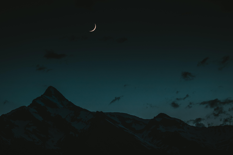 55487 скачать обои Горы, Ночь, Темные, Небо, Луна - заставки и картинки бесплатно
