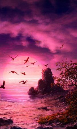 31273 скачать обои Пейзаж, Закат, Море, Рисунки - заставки и картинки бесплатно
