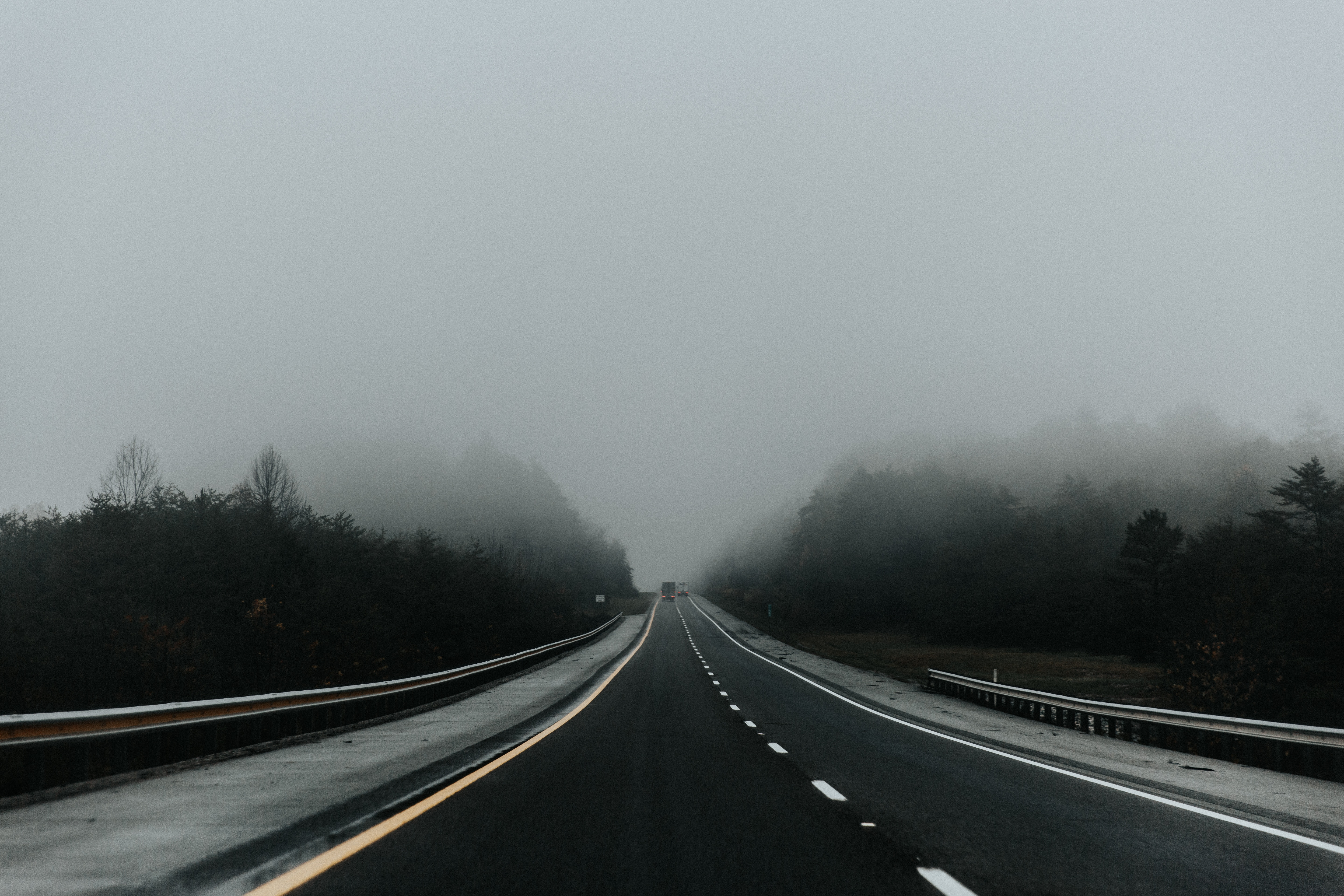134311 Screensavers and Wallpapers Markup for phone. Download Nature, Road, Markup, Fog, Traffic, Movement, Asphalt pictures for free