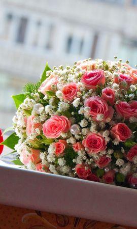122773 Заставки и Обои Свадьба на телефон. Скачать Цветы, Букет, Шар, Окно, Свадьба, Счастье, Розы, Кольца, Жемчужины картинки бесплатно
