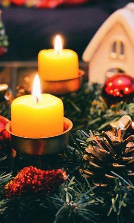 98239 завантажити шпалери Свята, Свічки, Різдво, Шишки, Ялина, Ялиця - заставки і картинки безкоштовно