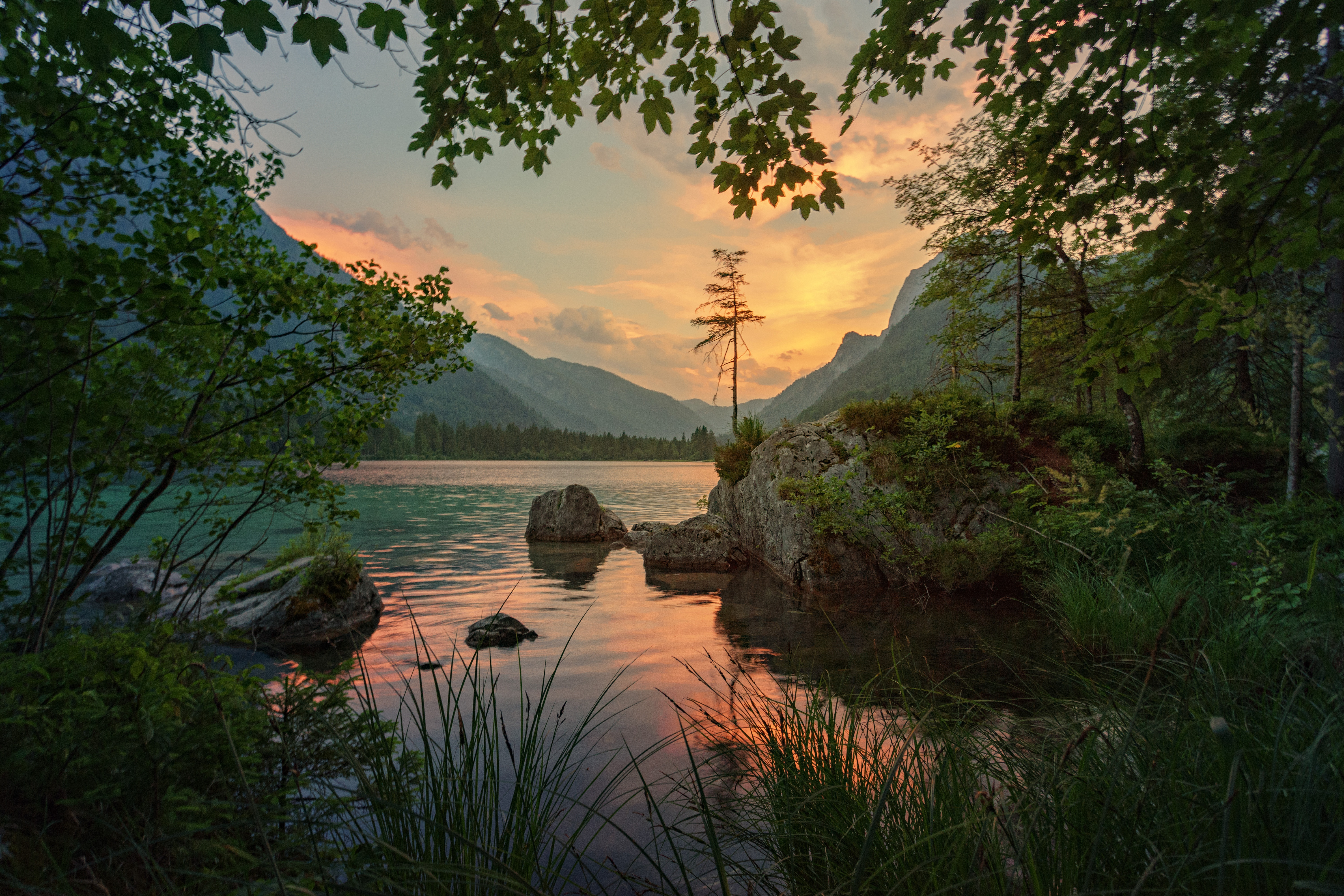 107802 download wallpaper Trees, Nature, Rivers, Stones, Mountains screensavers and pictures for free