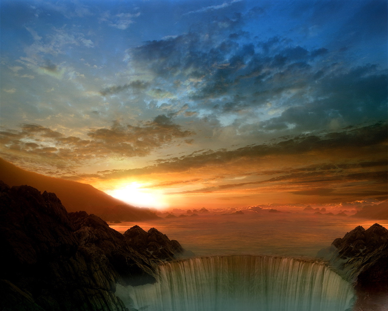 11196 скачать обои Пейзаж, Вода, Закат, Небо, Солнце, Облака, Водопады - заставки и картинки бесплатно