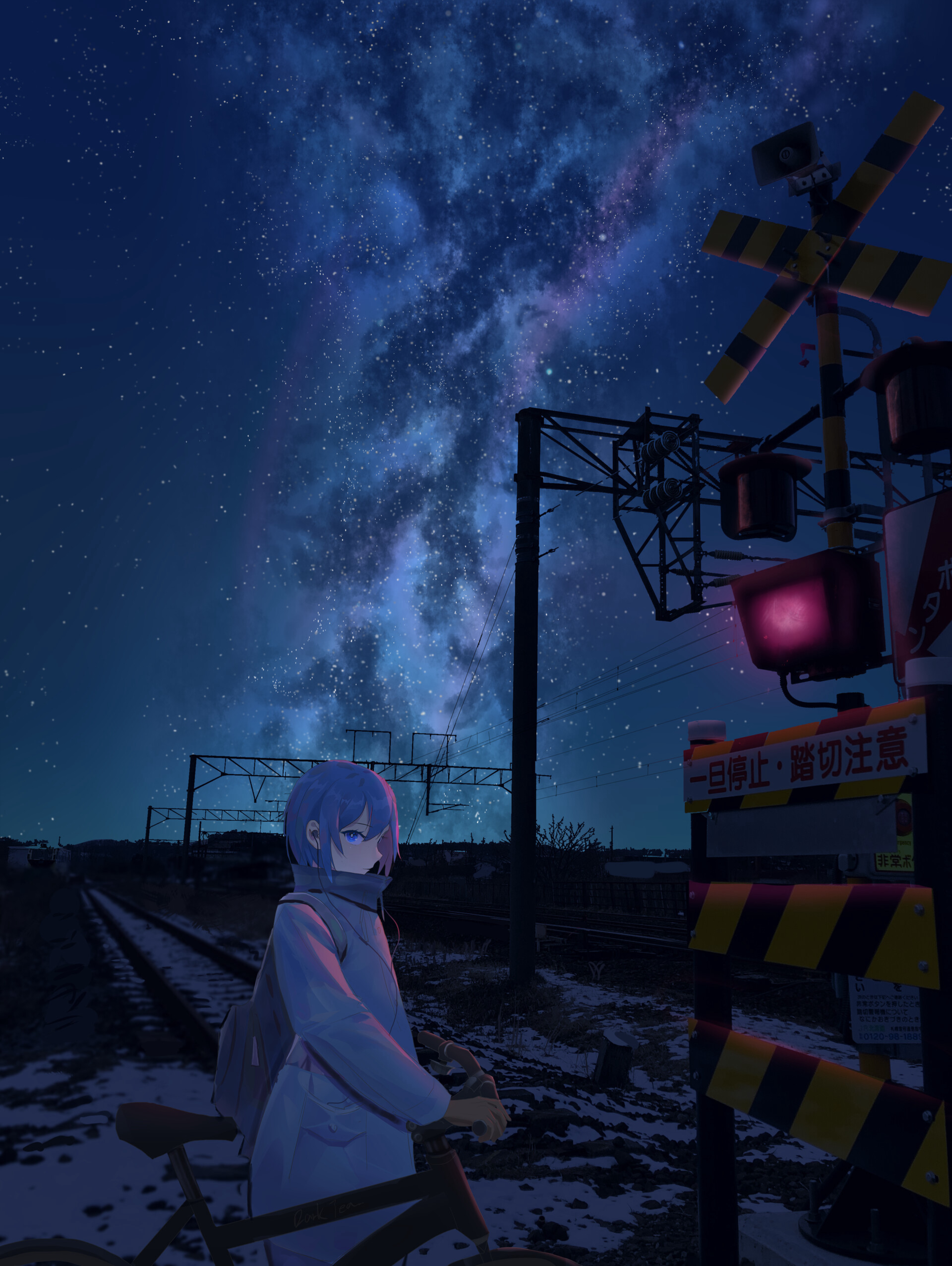 149217 Screensavers and Wallpapers Stars for phone. Download Anime, Stars, Night, Girl, Railway, Bicycle, Rails pictures for free