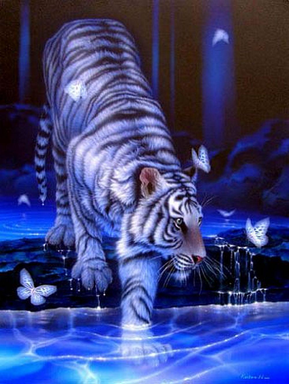 21193 скачать обои Животные, Тигры, Рисунки - заставки и картинки бесплатно