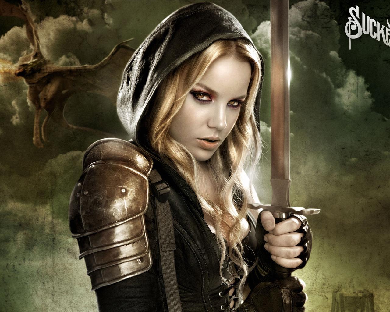 22246 Hintergrundbild herunterladen Mädchen, Menschen, Fantasie, Swords - Bildschirmschoner und Bilder kostenlos