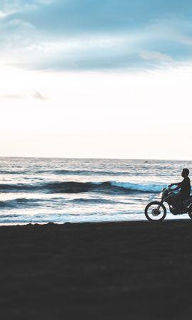 105614 télécharger le fond d'écran Moto, Motocyclette, Motocycliste, Plage, Sombre, Silhouette - économiseurs d'écran et images gratuitement