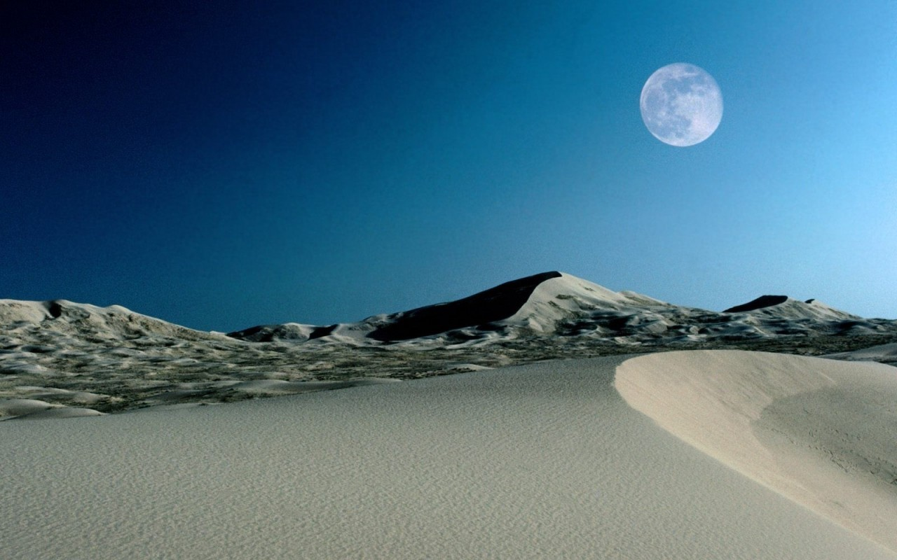 21839 download wallpaper Landscape, Sky, Sand, Moon, Desert screensavers and pictures for free