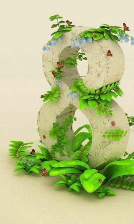 87131 скачать обои Праздники, 8 Марта, Весна, Цифра, Зелень - заставки и картинки бесплатно