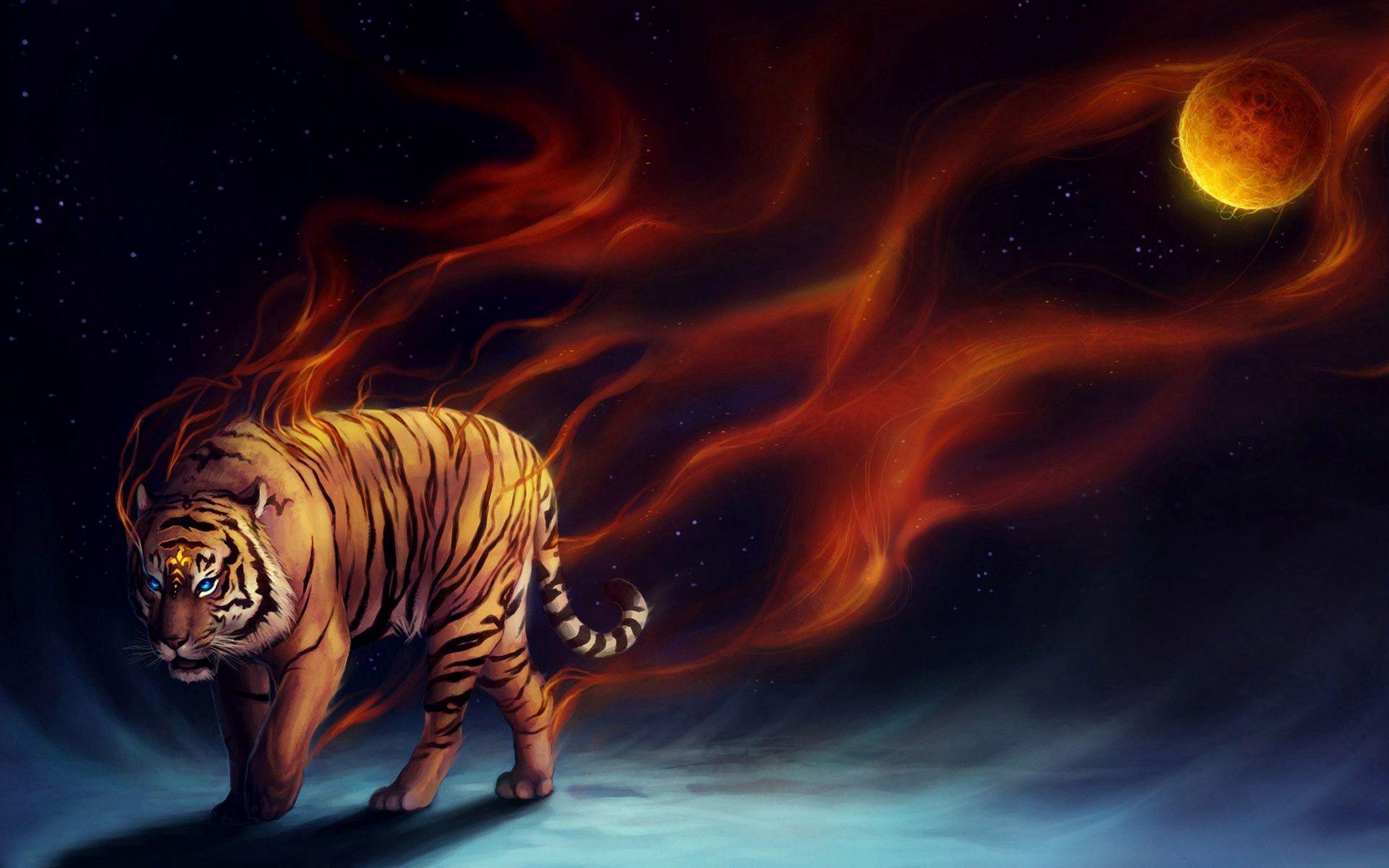 147555 免費下載壁紙 抽象, 老虎, 虎, 月球, 艺术 屏保和圖片