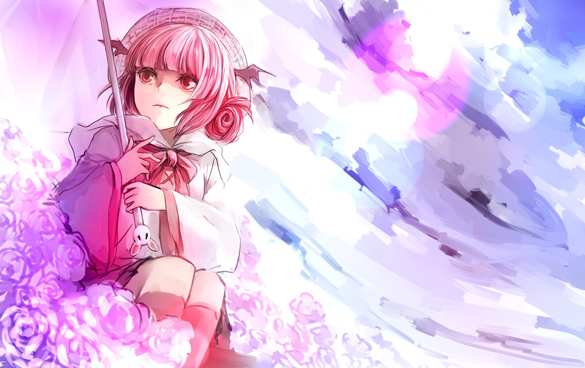 70694 Hintergrundbild herunterladen Mädchen, Blumen, Anime, Kunst, Rosa, Regenschirm - Bildschirmschoner und Bilder kostenlos