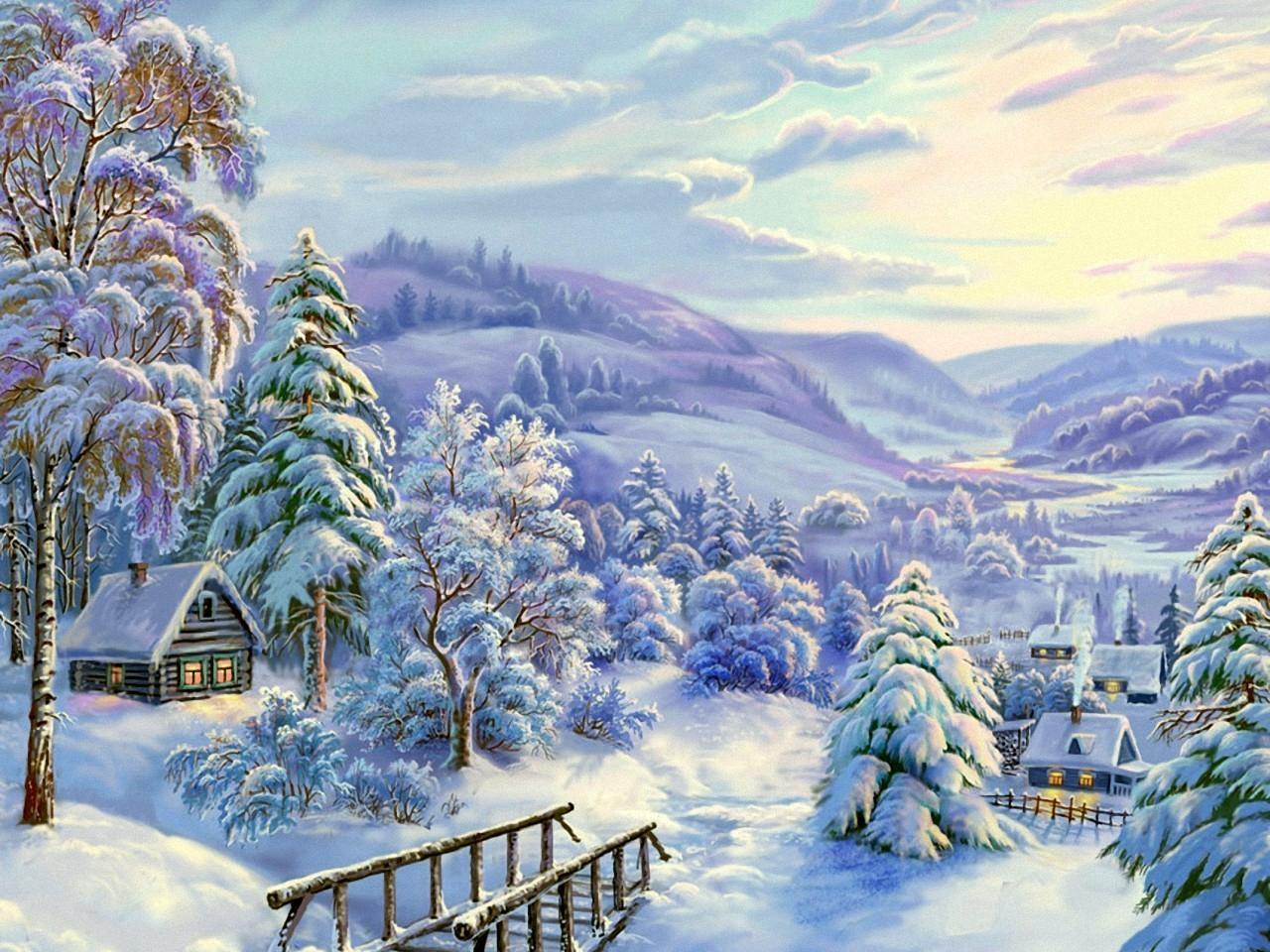 37942 скачать обои Пейзаж, Зима, Рисунки - заставки и картинки бесплатно