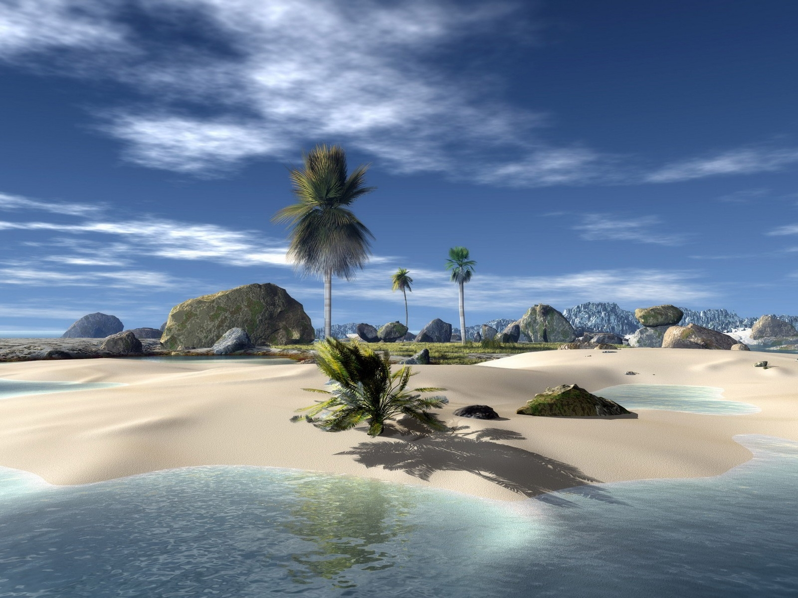 1893 download wallpaper Landscape, Sky, Sea, Beach, Palms screensavers and pictures for free