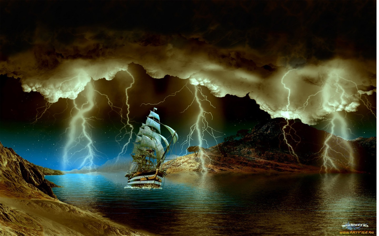 26378 download wallpaper Transport, Landscape, Ships, Sea, Night, Lightning screensavers and pictures for free