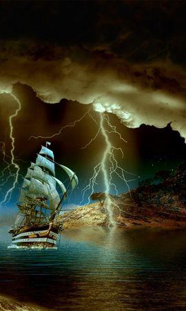 26378 скачать обои Транспорт, Пейзаж, Корабли, Море, Ночь, Молнии - заставки и картинки бесплатно