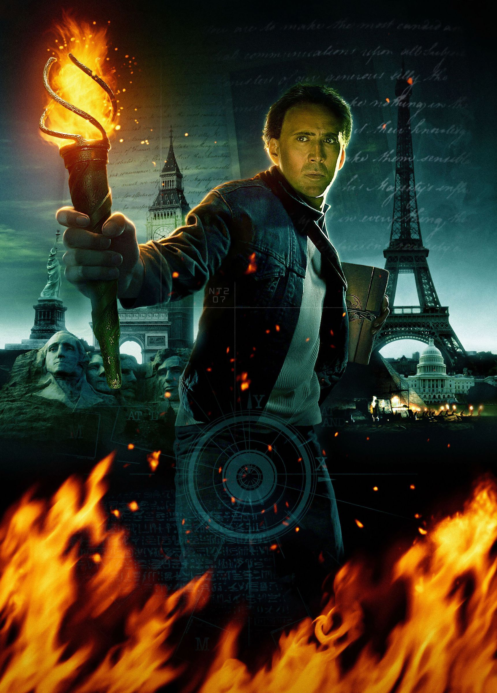 9697 download wallpaper Cinema, People, Actors, Fire, Men, Nicolas Cage, National Treasure screensavers and pictures for free