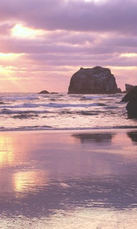 1766 download wallpaper Landscape, Water, Sunset, Stones, Sea, Sun, Beach screensavers and pictures for free