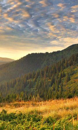 26457 скачать обои Пейзаж, Деревья, Закат, Горы, Облака - заставки и картинки бесплатно