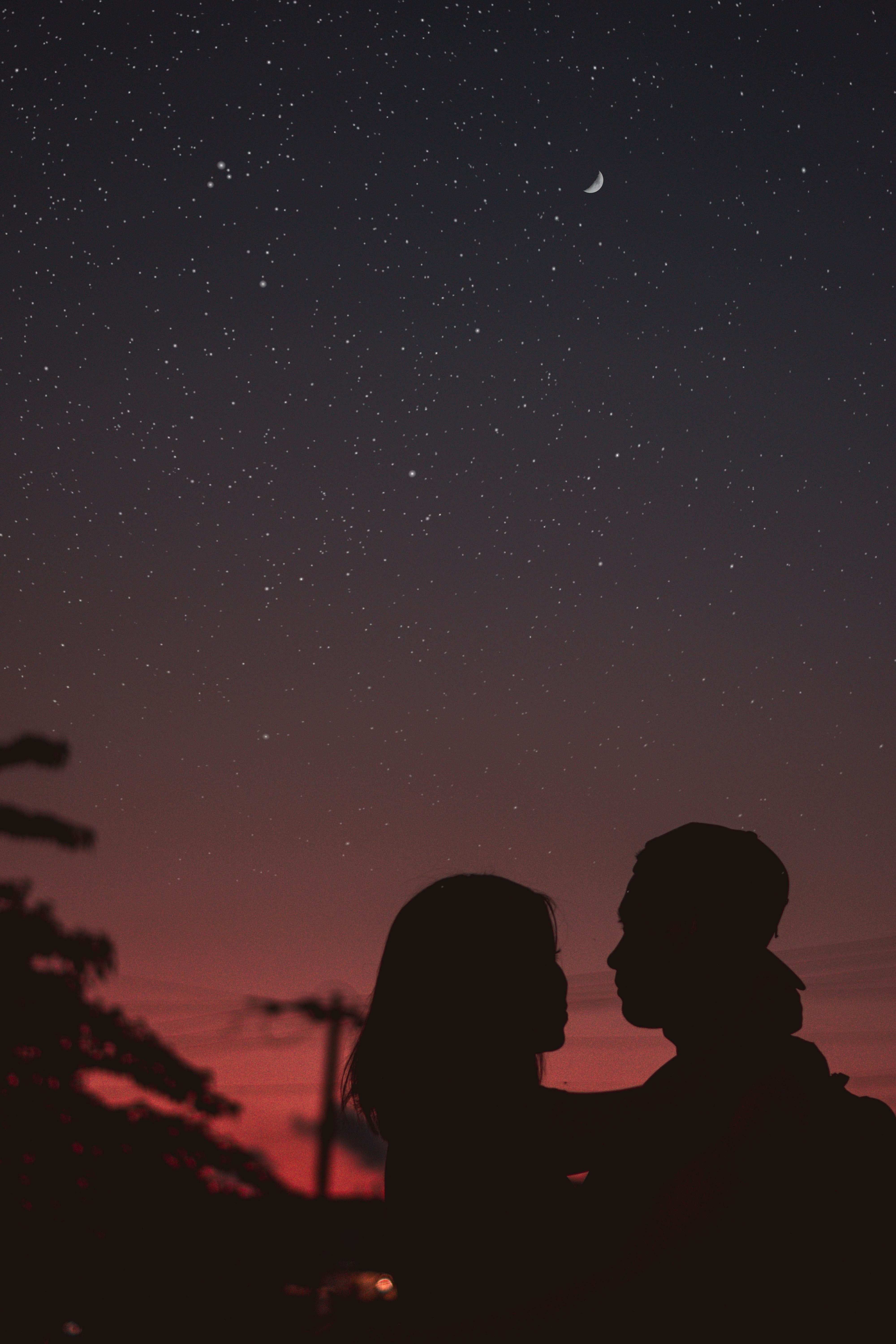 79204 download wallpaper Night, Love, Couple, Pair, Silhouettes, Starry Sky, Embrace screensavers and pictures for free
