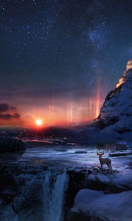 155979 Salvapantallas y fondos de pantalla Nieve en tu teléfono. Descarga imágenes de Ciervo, Invierno, Noche, Arte, Nieve gratis