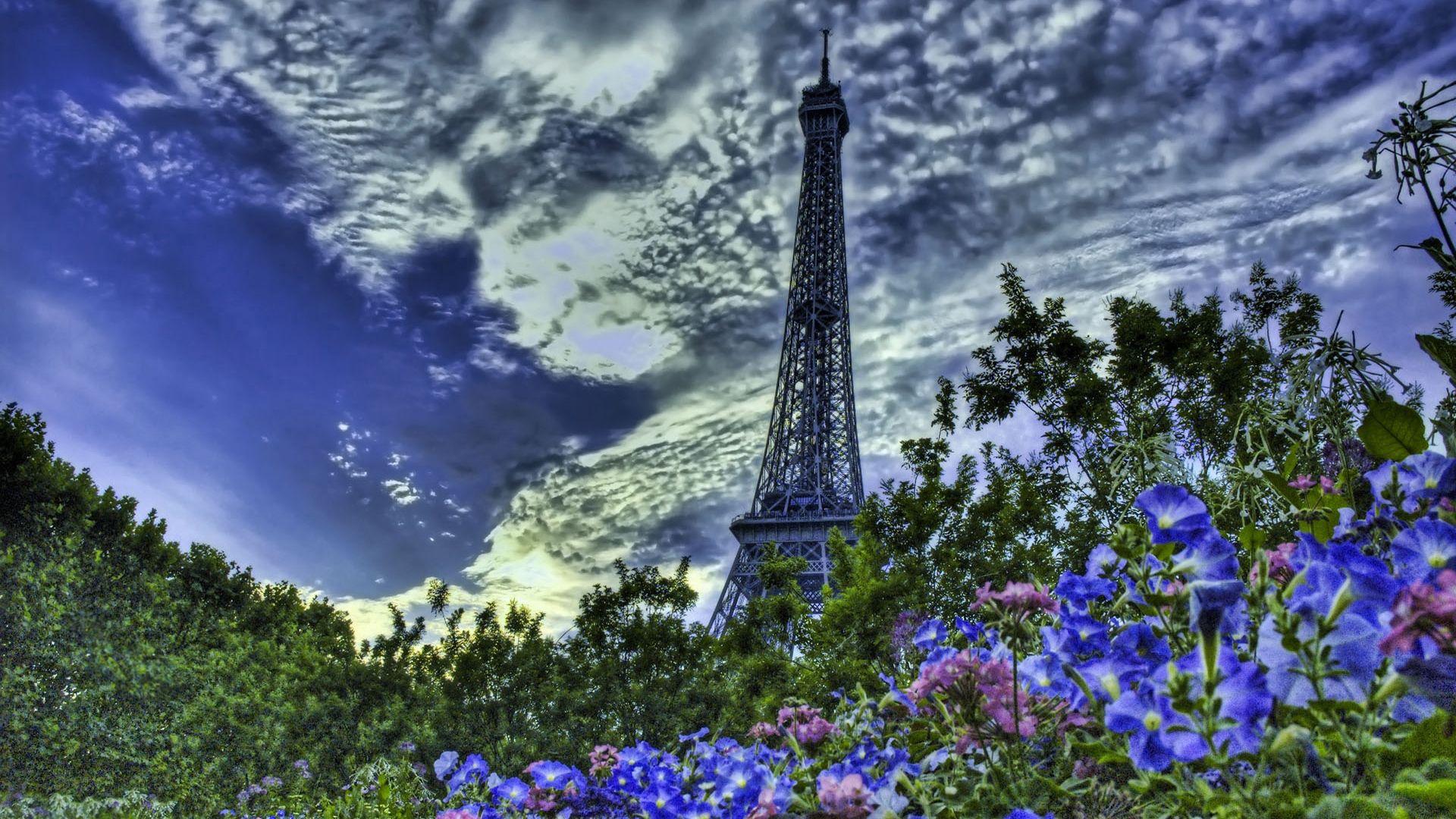 70213 télécharger le fond d'écran Paris, France, Sky, Hdr, Villes, Tour Eiffel, Fleurs - économiseurs d'écran et images gratuitement