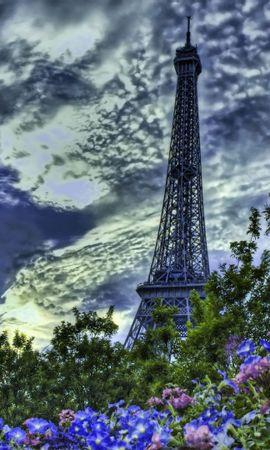 70213 baixar papel de parede Paris, França, Céu, Hdr, Cidades, Torre Eiffel, Flores - protetores de tela e imagens gratuitamente