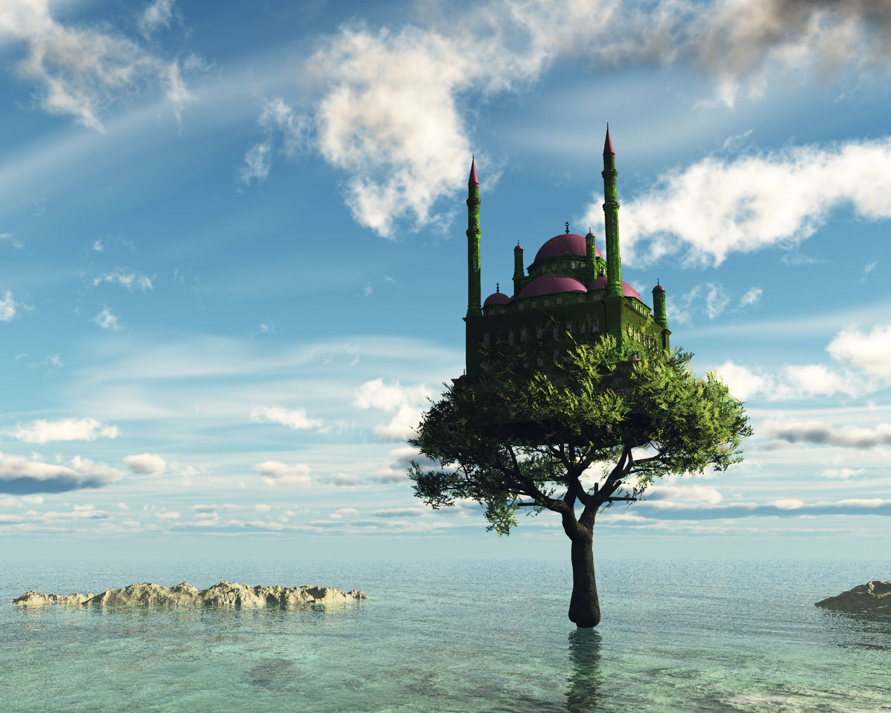 144205 download wallpaper Fantasy, Sea, Lock, Wood, Tree screensavers and pictures for free