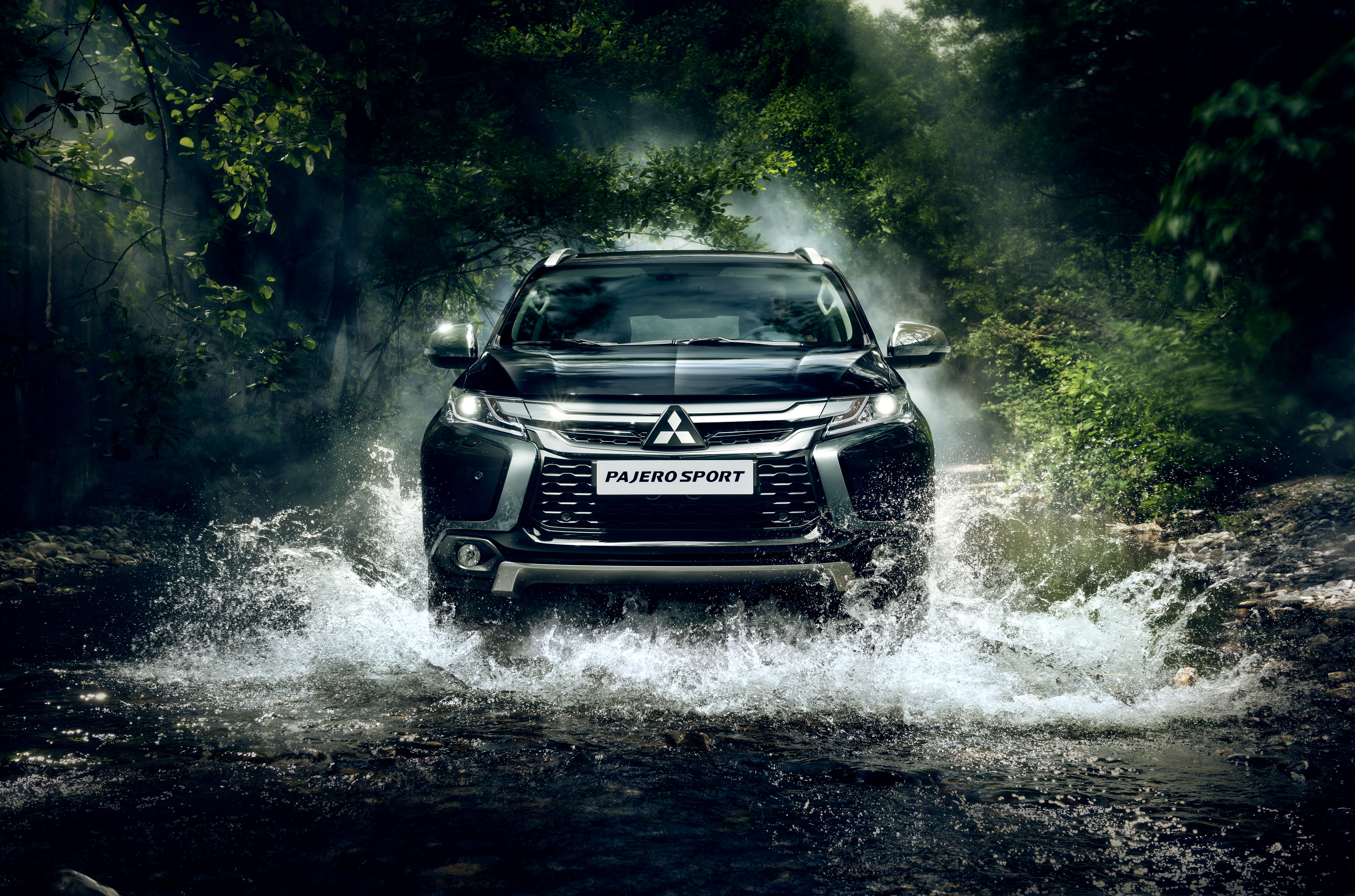62441 download wallpaper Cars, Mitsubishi, Pajero, Rivers, Front View screensavers and pictures for free