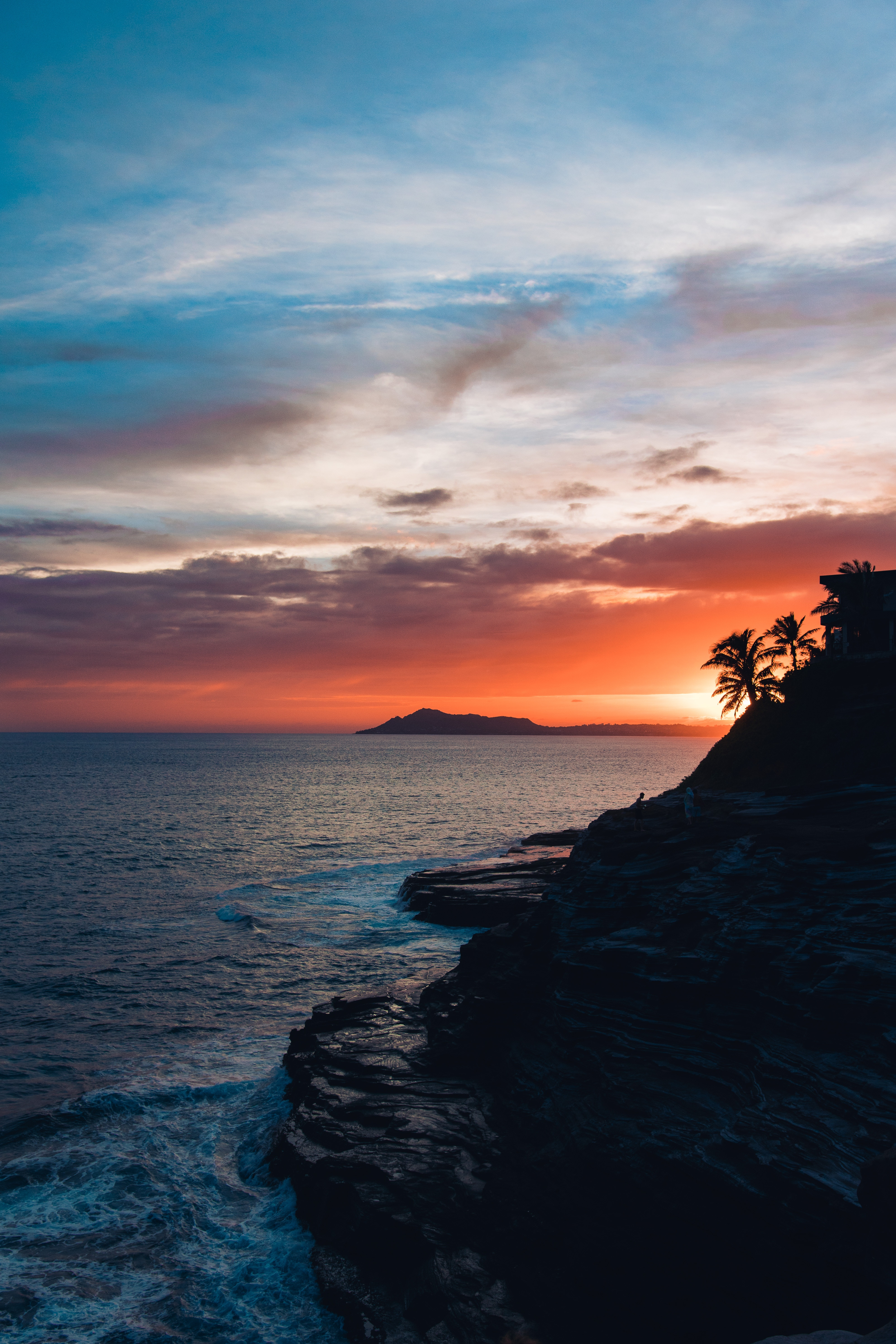 156564 download wallpaper Nature, Rock, Sea, Sunset, Night, Sky, Palm screensavers and pictures for free
