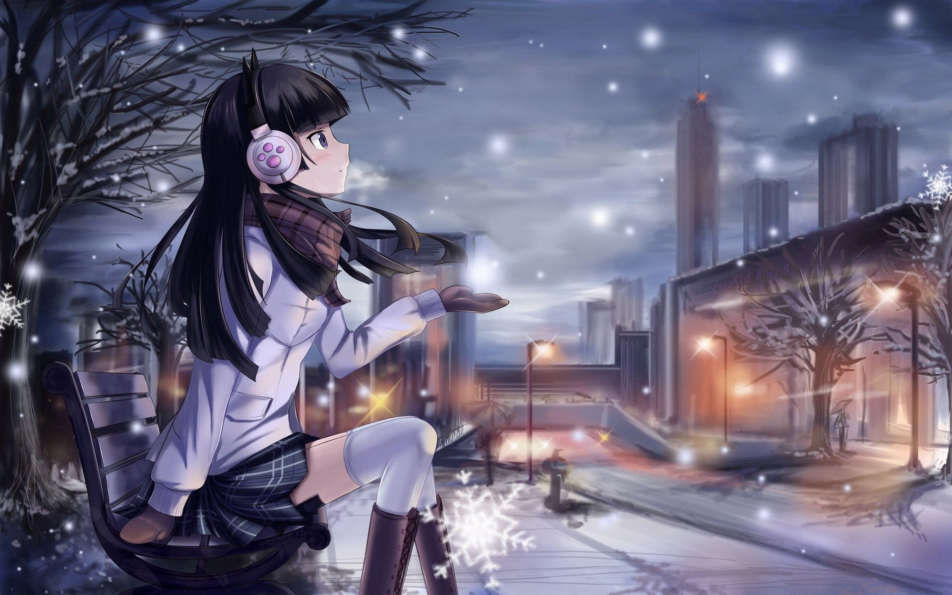 79048 Screensavers and Wallpapers Scarf for phone. Download Anime, Winter, Headphones, City, Lamp, Lantern, Girl, Bench, Cold, Snowflake, Scarf pictures for free