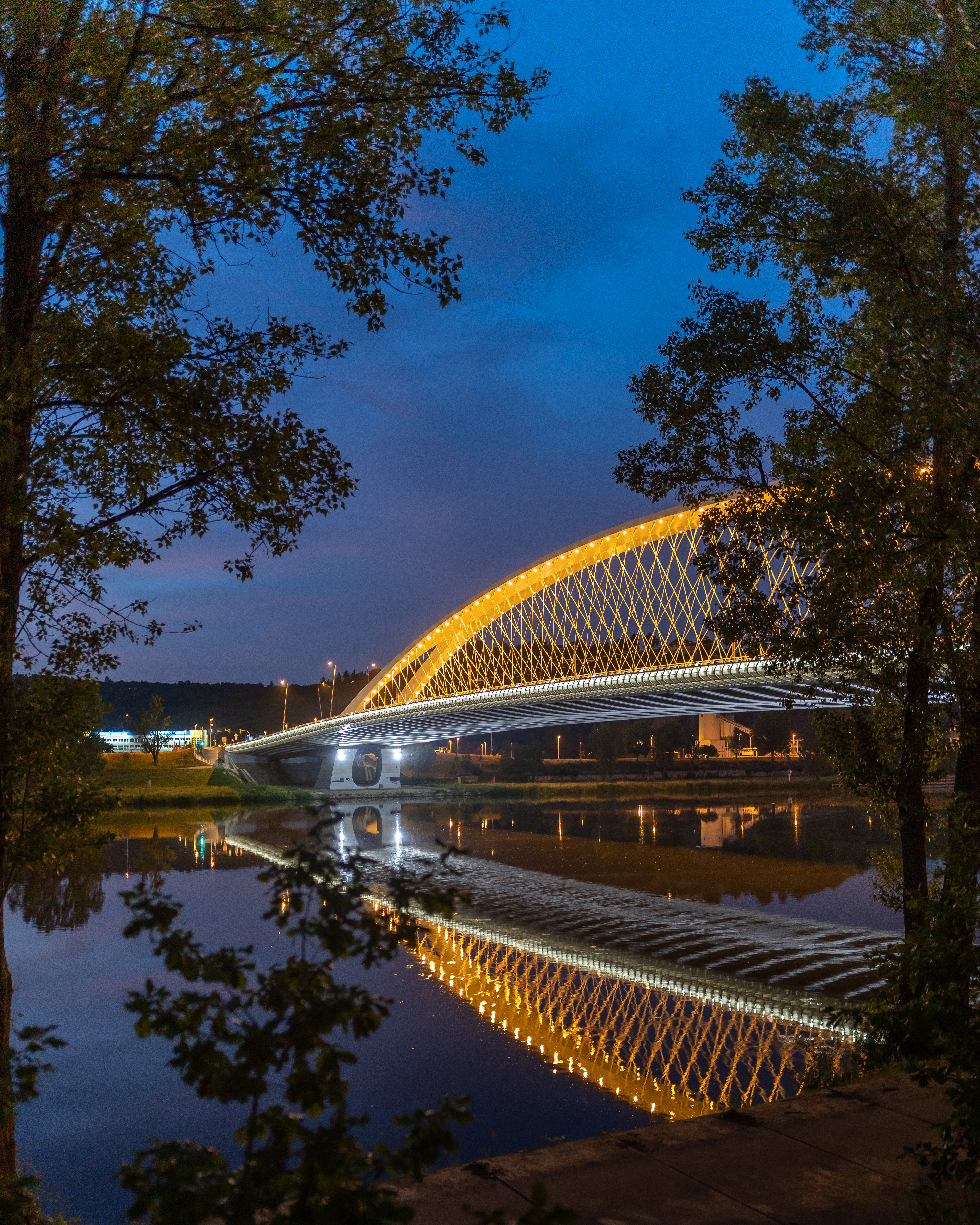 149881 download wallpaper Bridge, Lights, Branches, Rivers, Architecture, Cities screensavers and pictures for free