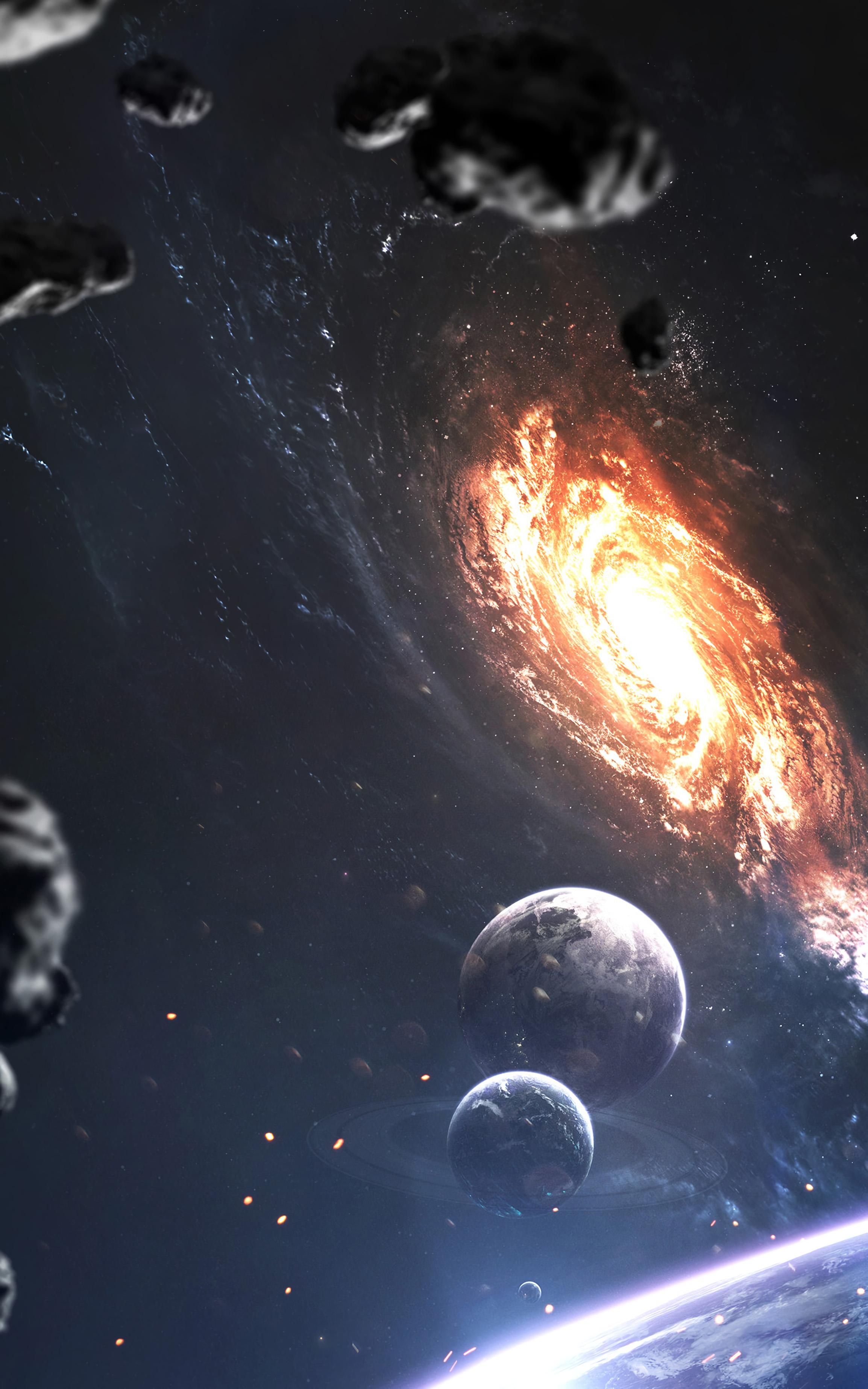 80099 обои 1080x2340 на телефон бесплатно, скачать картинки Планеты, Космос, Вселенная, Метеориты, Галкатика 1080x2340 на мобильный