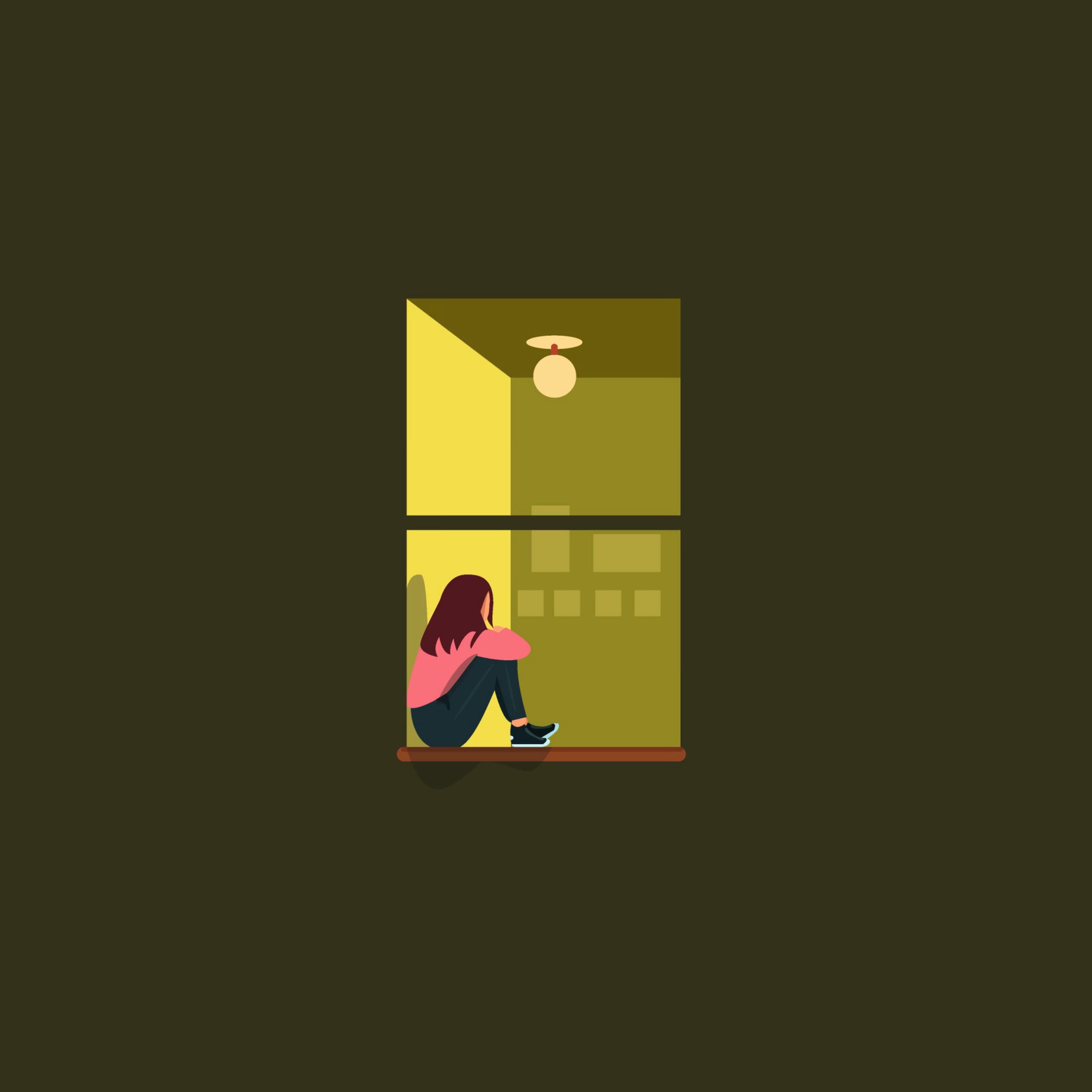 147437 скачать обои Вектор, Девушка, Окно, Одиночество - заставки и картинки бесплатно