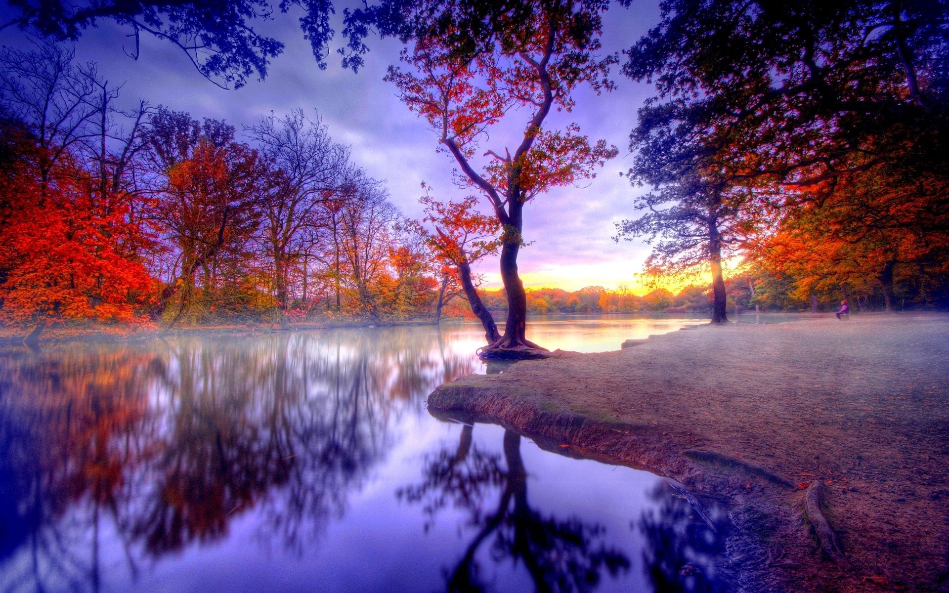 121021 download wallpaper Nature, Autumn, Silence, Trees, Lake screensavers and pictures for free