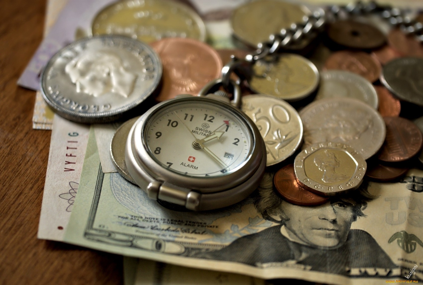 19830 download wallpaper Objects, Money, Clock, Still Life screensavers and pictures for free