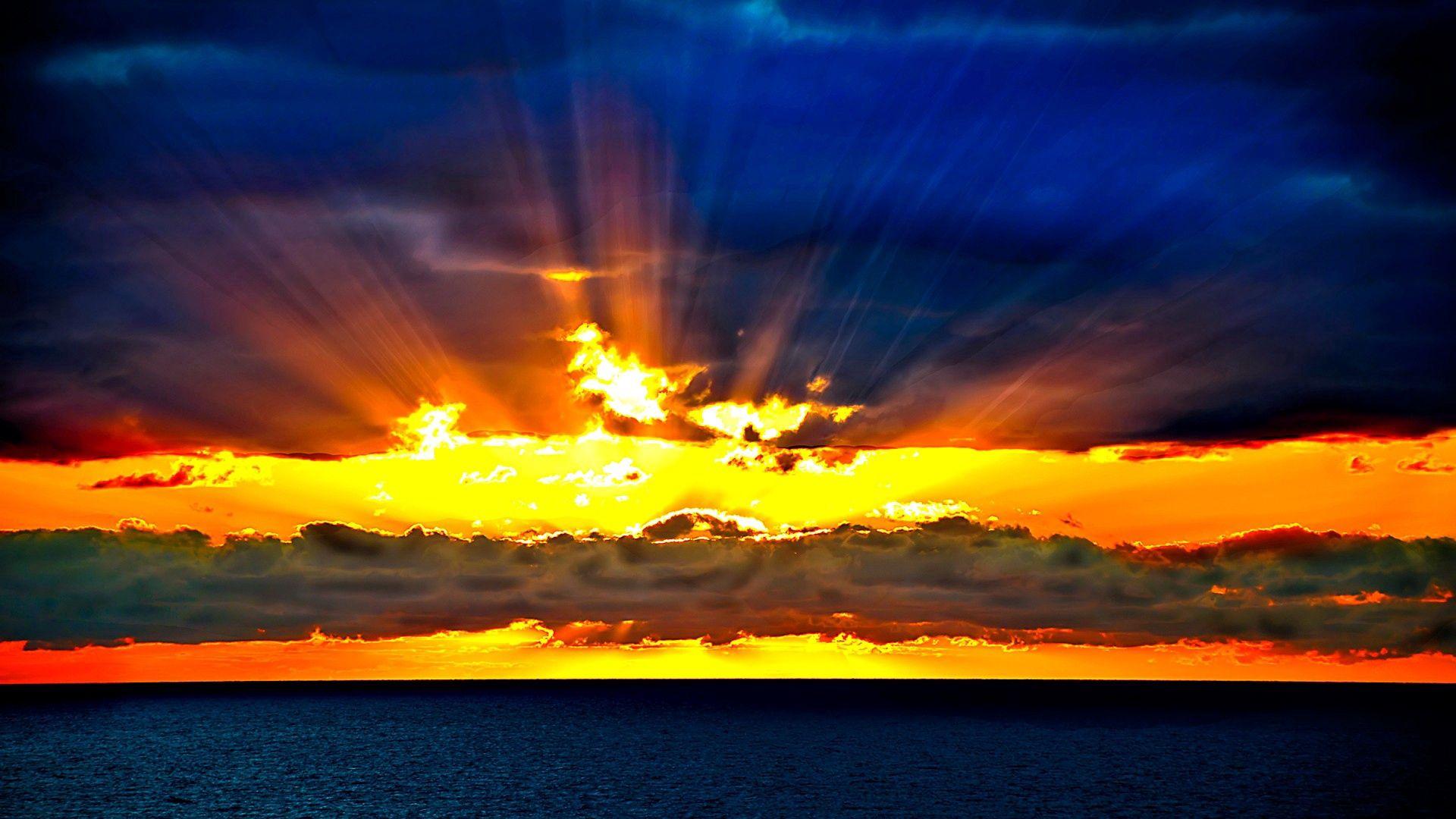 143546壁紙のダウンロード自然, ビーム, 光線, スカイ, 地平線, 海, オレンジ, 日没, サン-スクリーンセーバーと写真を無料で