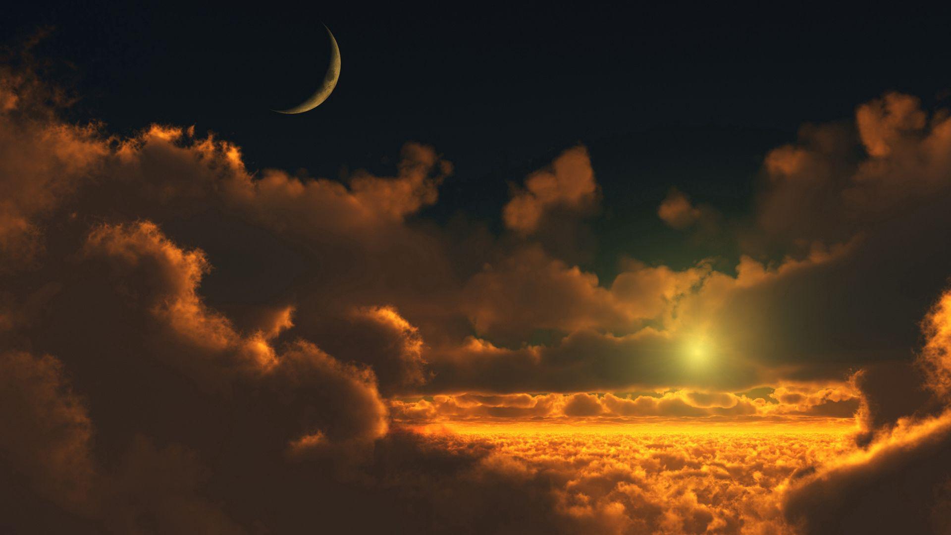 137377 descargar fondo de pantalla Naturaleza, Cielo, Nubes, Altura, Luna, Resplandor, Resplandecer: protectores de pantalla e imágenes gratis