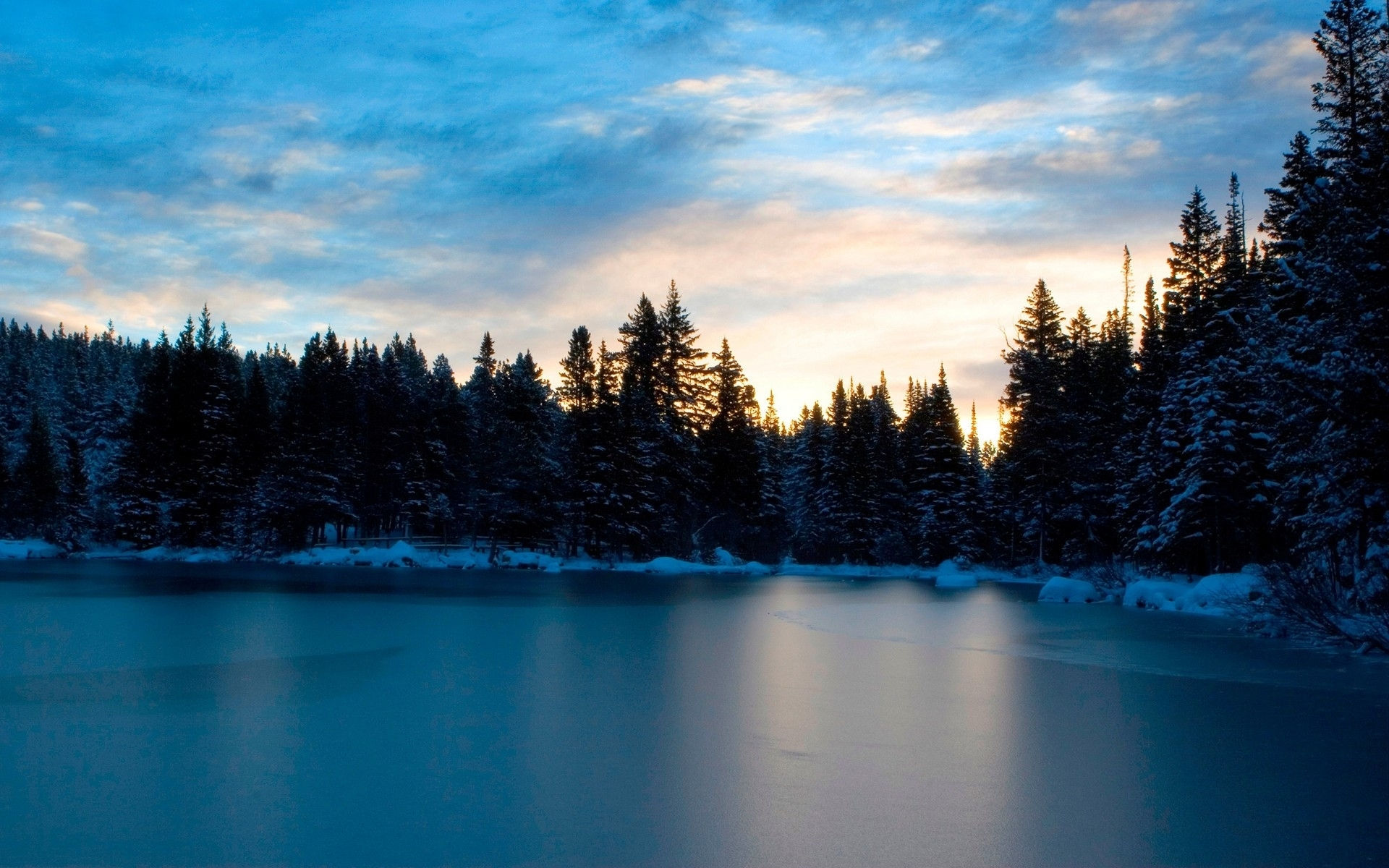 1012 download wallpaper Landscape, Winter, Water, Trees, Sky screensavers and pictures for free