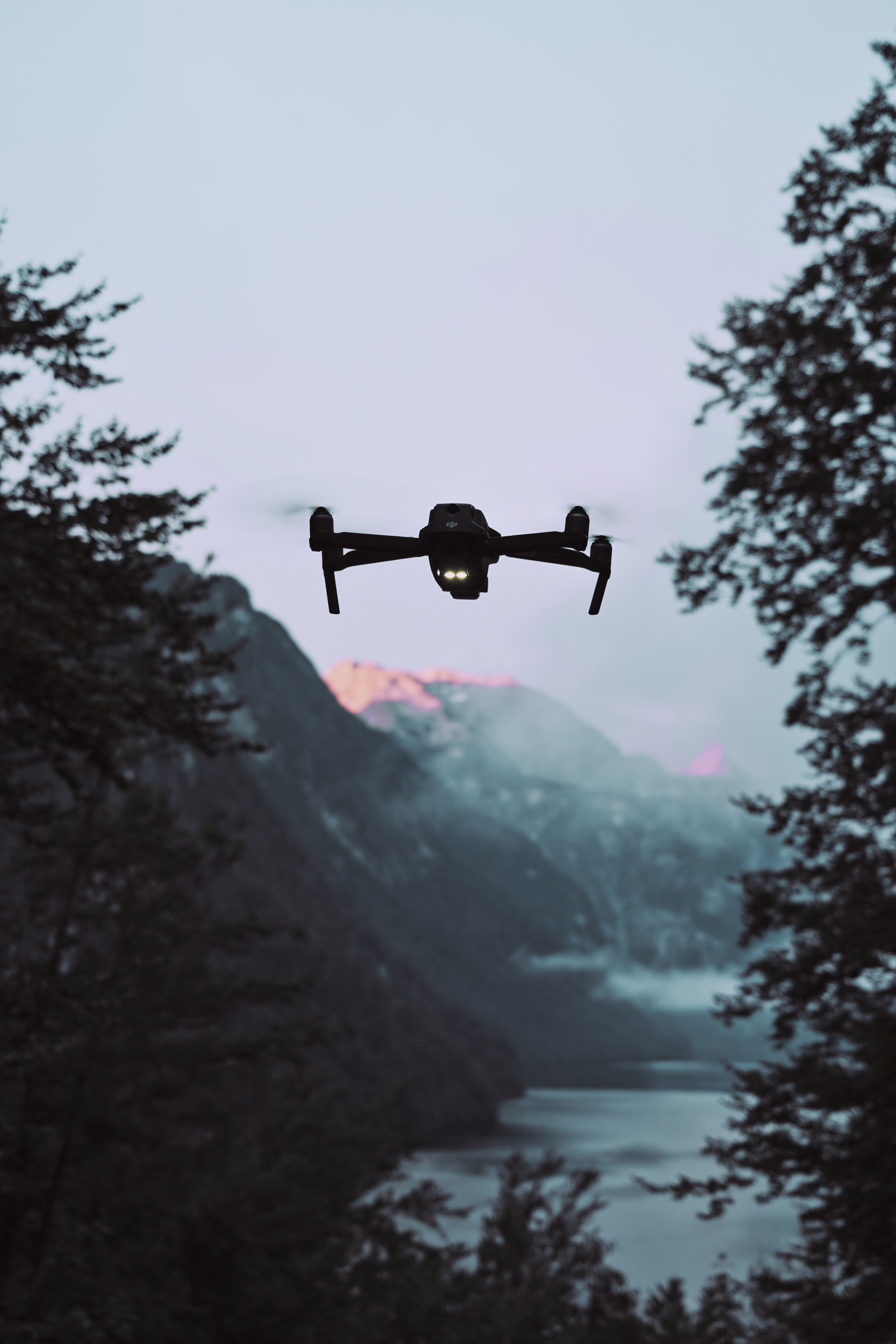 101141 Screensavers and Wallpapers Quadcopter for phone. Download Landscape, Mountains, Twilight, Dusk, Technologies, Technology, Quadcopter, Drone pictures for free