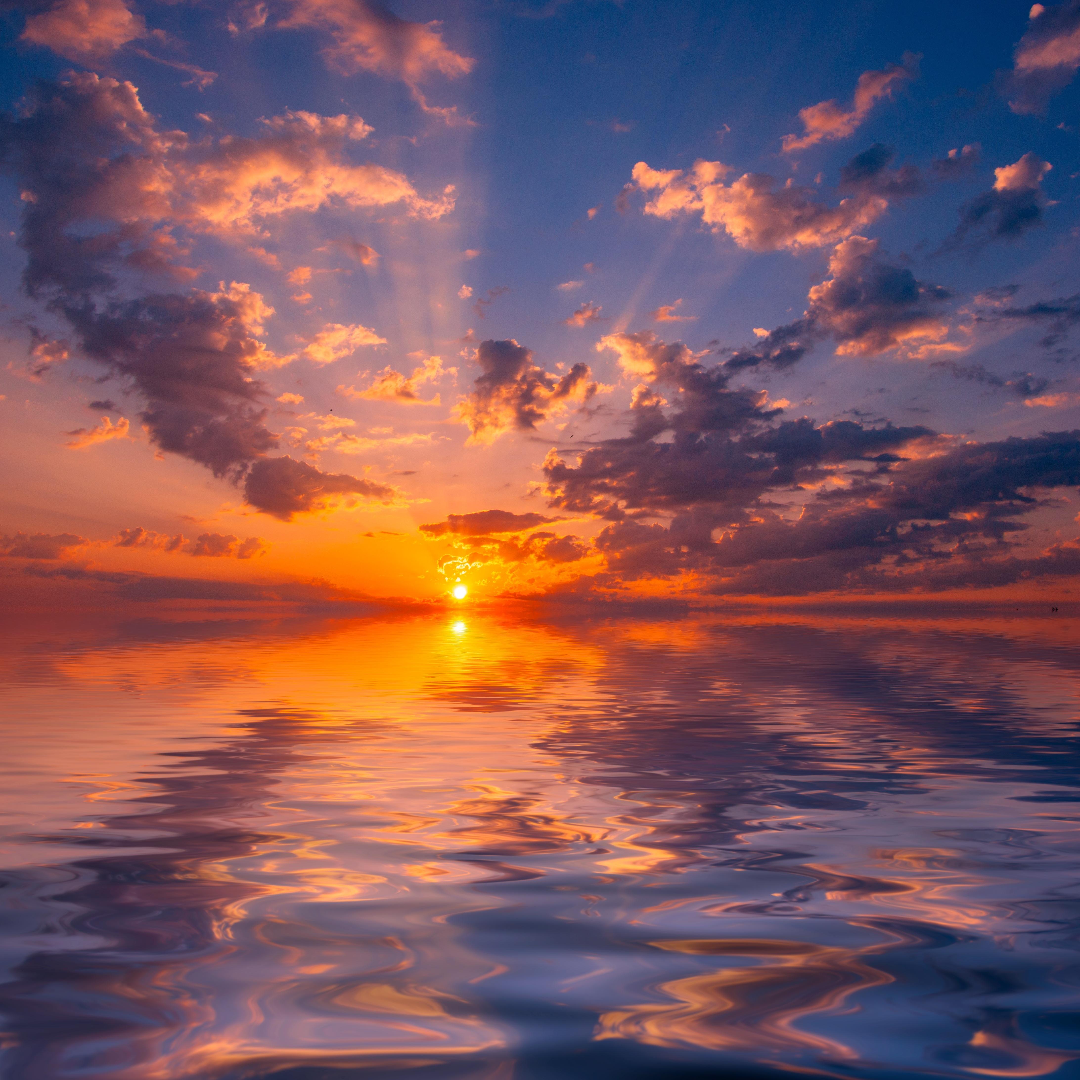 102102 скачать обои Облака, Море, Закат, Природа, Солнце, Горизонт, Отражение - заставки и картинки бесплатно