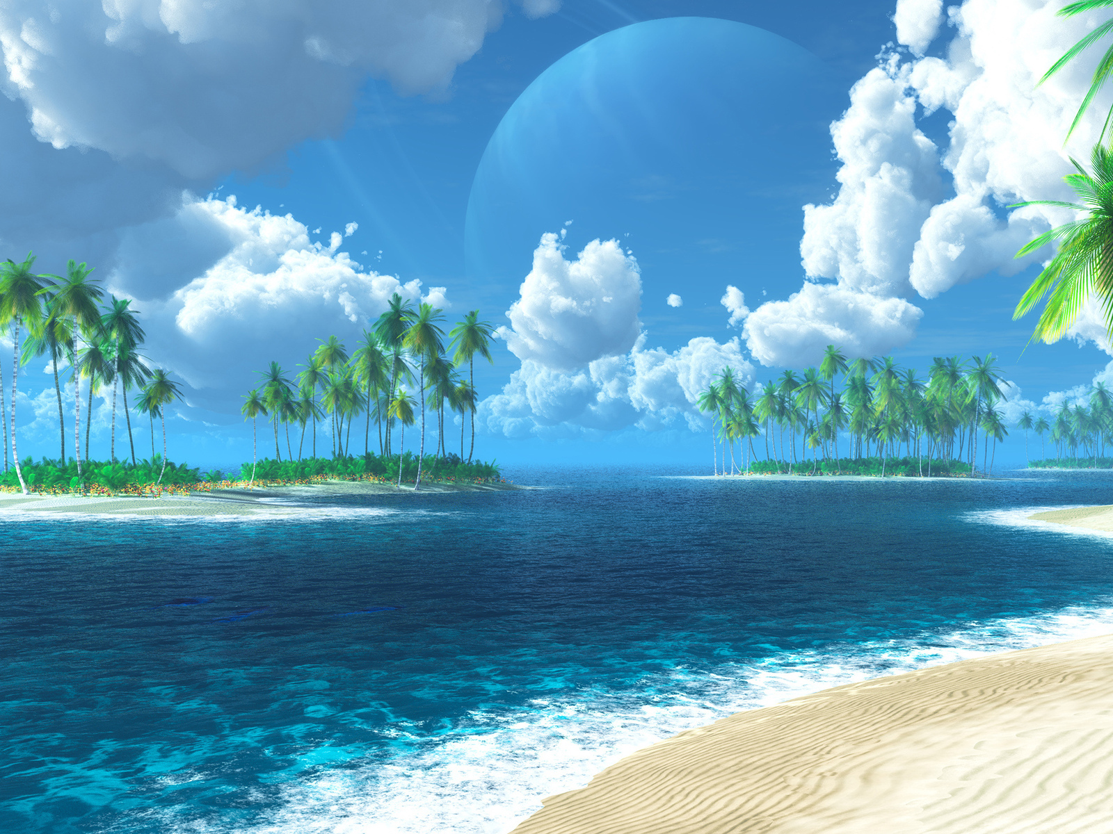 21387 download wallpaper Landscape, Sea, Clouds, Beach, Palms screensavers and pictures for free
