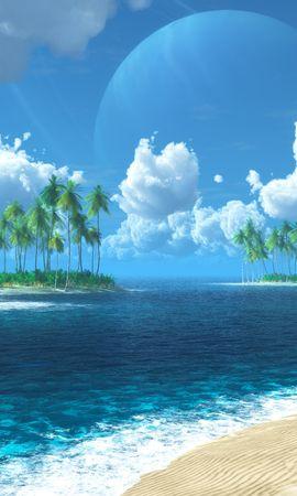 21387 скачать обои Пейзаж, Море, Облака, Пляж, Пальмы - заставки и картинки бесплатно