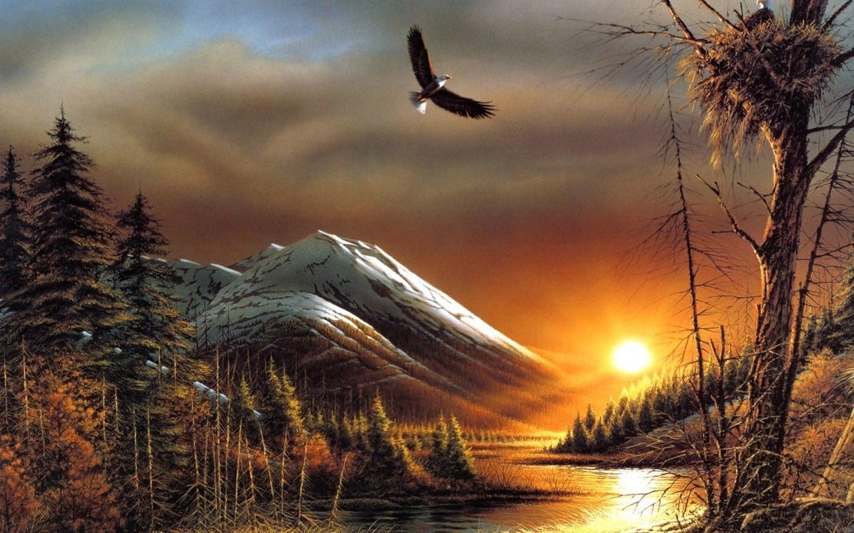 483 скачать обои Закат, Пейзаж, Река, Арт, Горы, Солнце - заставки и картинки бесплатно