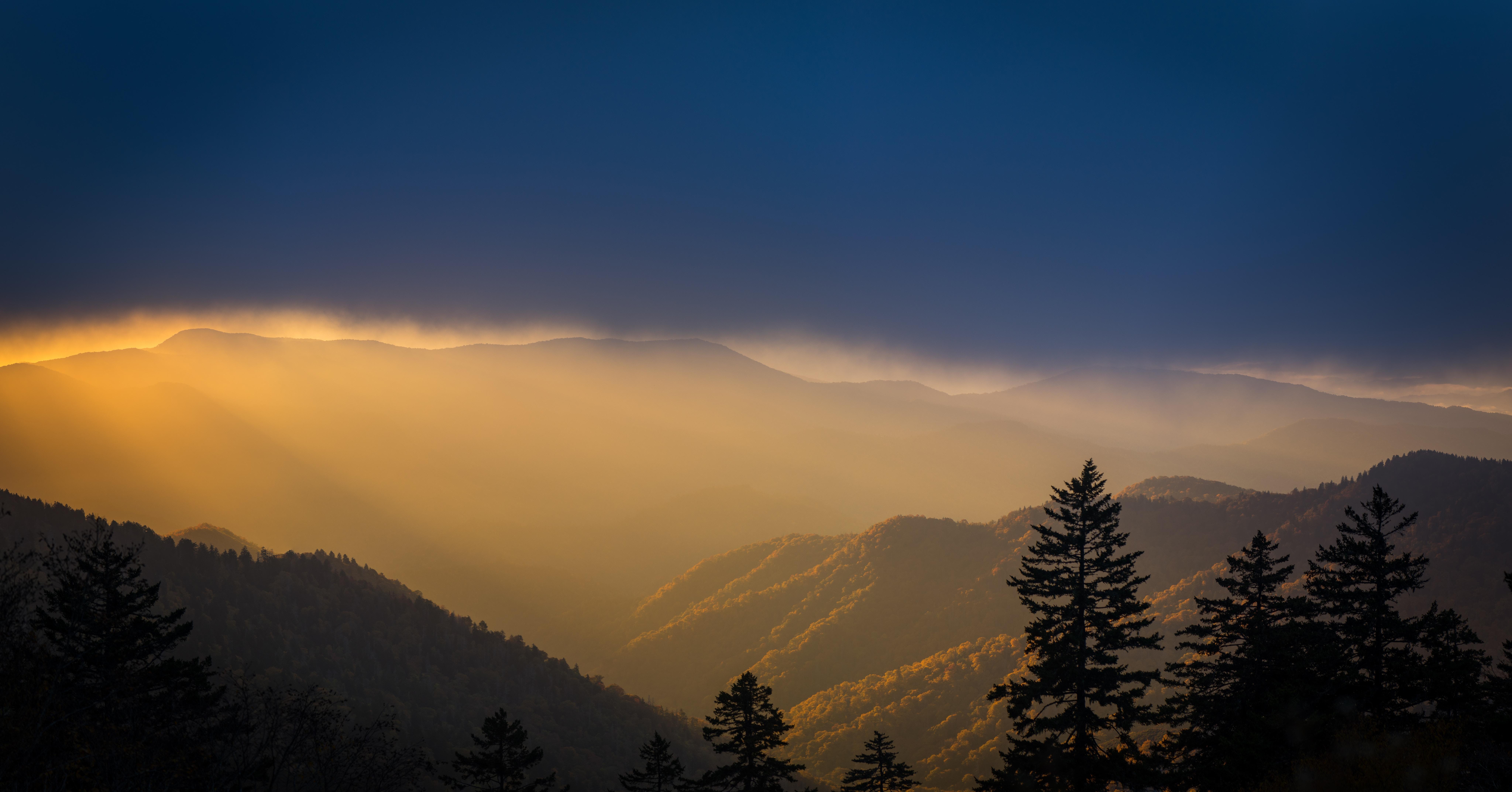 121457 скачать обои Облака, Природа, Деревья, Горы, Туман, Вершины - заставки и картинки бесплатно