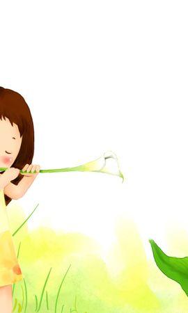 58567 descargar fondo de pantalla Miscelánea, Misceláneo, Niña, La Chica, Imagen, Dibujo, Plantas, Flores: protectores de pantalla e imágenes gratis