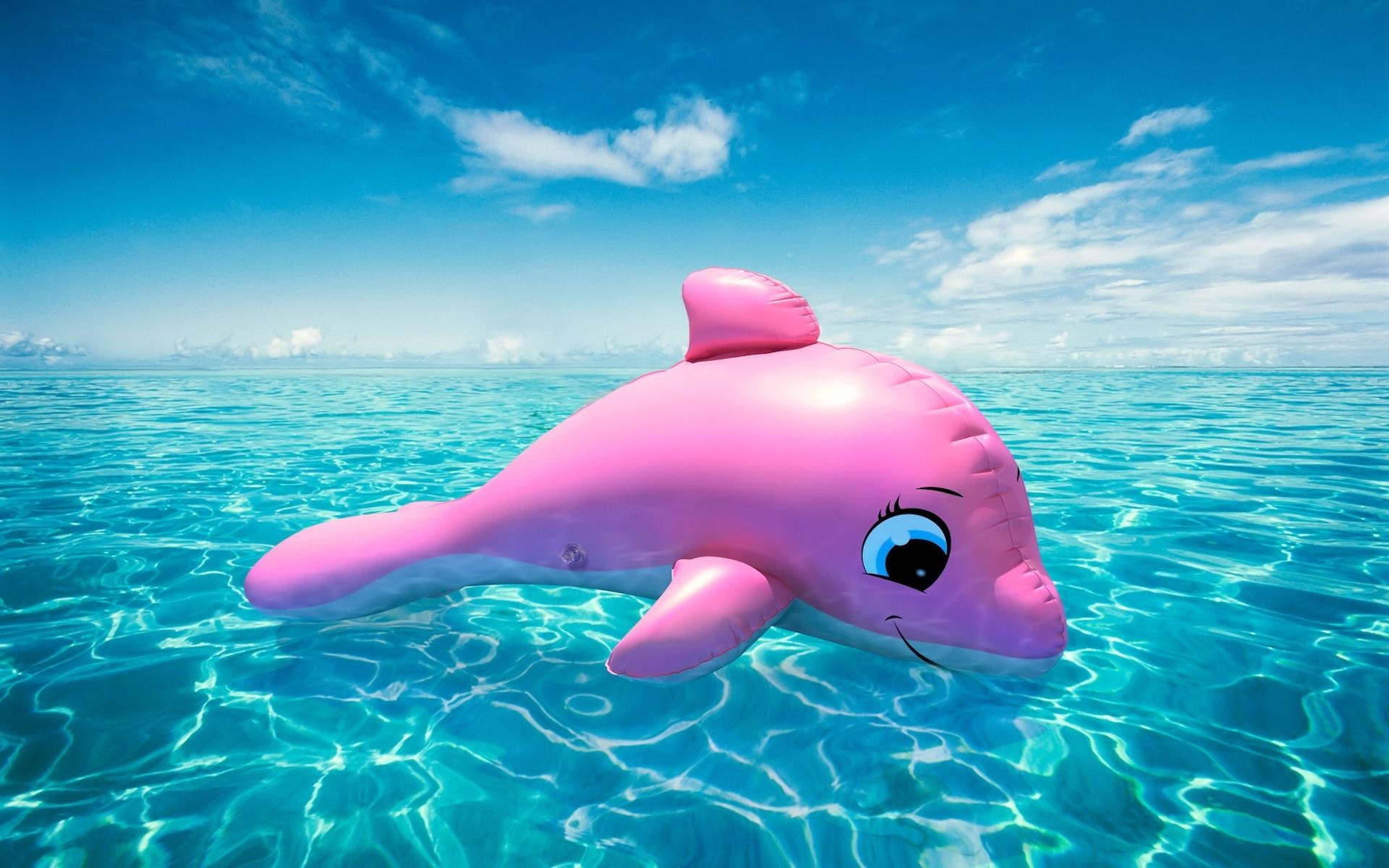 5046 скачать обои Пейзаж, Вода, Небо, Дельфины, Игрушки - заставки и картинки бесплатно