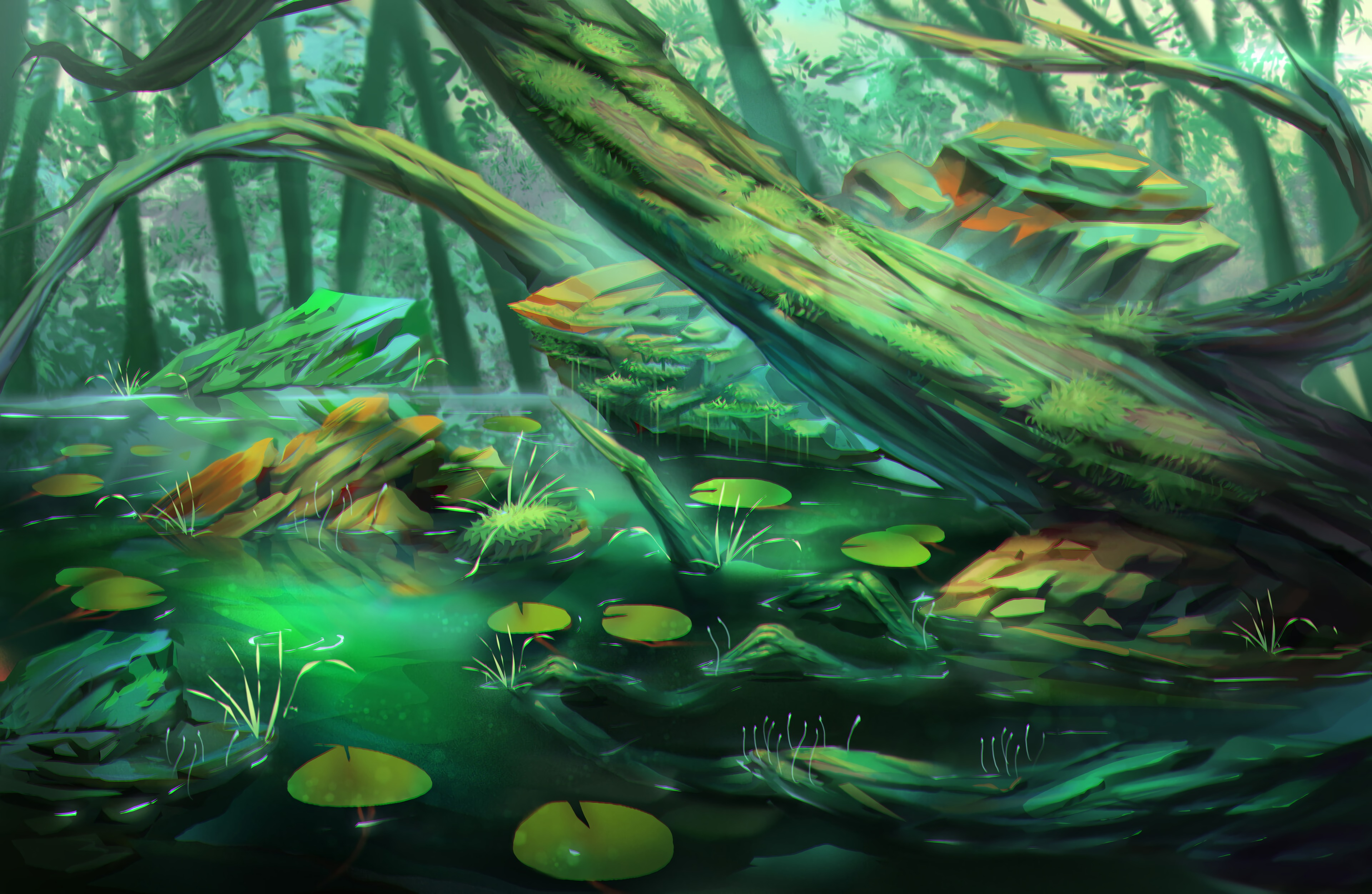 156309 download wallpaper Swamp, Trees, Stones, Forest, Art screensavers and pictures for free
