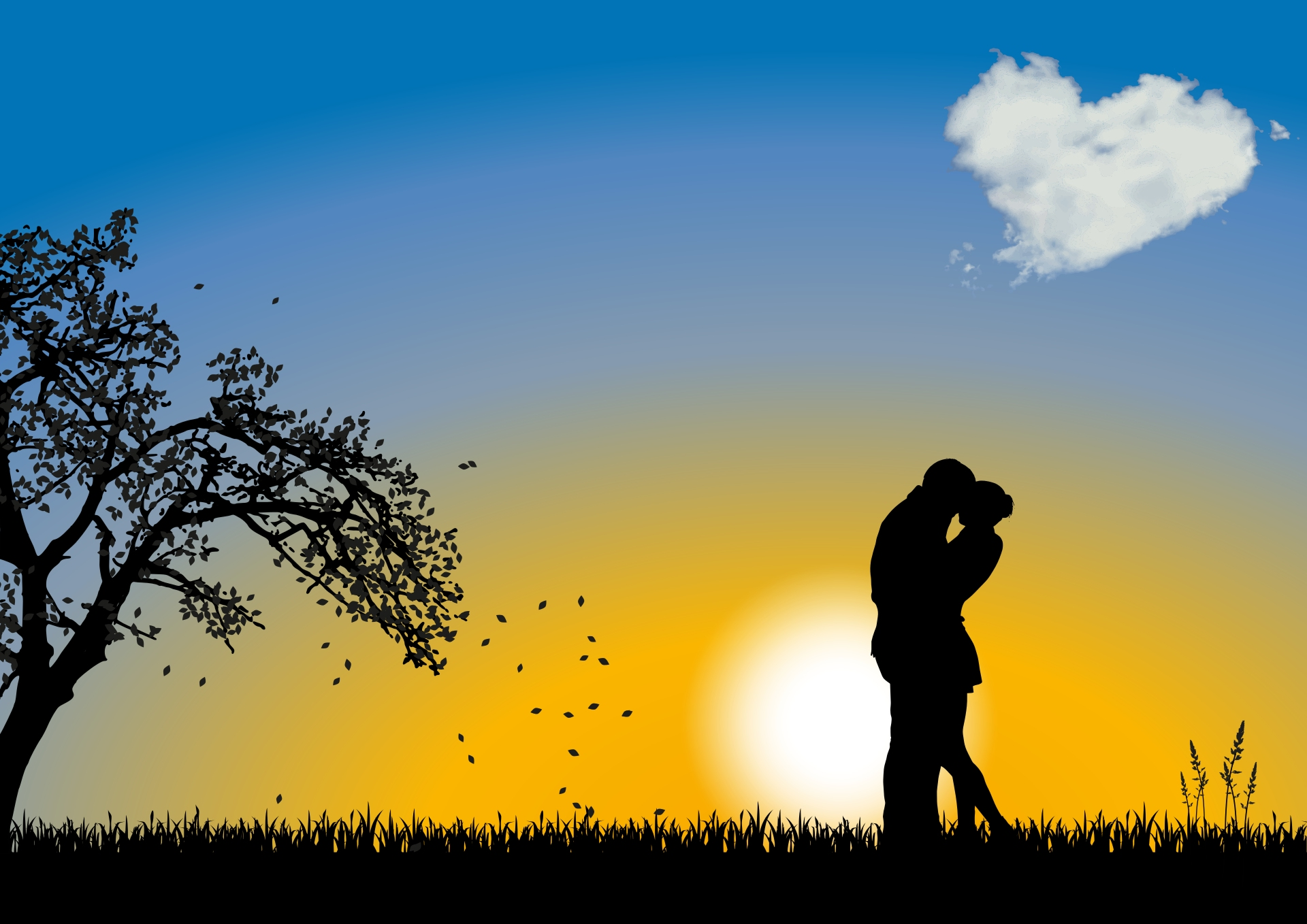 134867 download wallpaper Vector, Couple, Pair, Love, Romance, Cloud screensavers and pictures for free